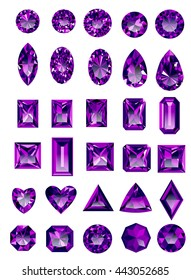 Set of realistic purple amethyst jewels isolated on white background with different cuts. Princess cut jewel. Round cut jewel. Emerald cut jewel. Oval cut jewel. Pear cut jewel . Heart cut jewel.