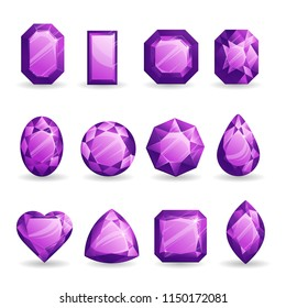 Set of realistic purple gemstones. Amethyst of different forms isolated on white background.