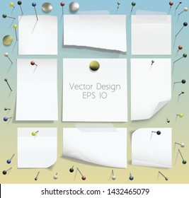 Set of realistic pushpins and white notes. Vector illustration.