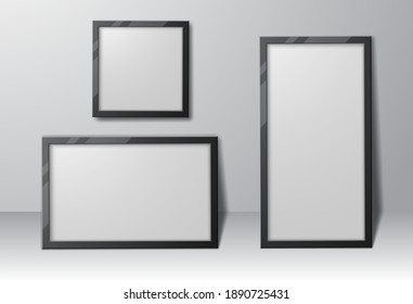 Set of realistic rectangular and square photo frames with shadows, empty template for your design. Vector illustration.