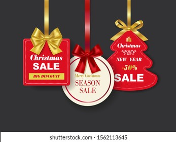 Set of realistic Red Christmas sale tags with golden ribbon on dark background. Vector Illustration.