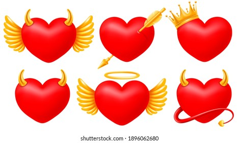 Set of realistic red hearts with golden wings, pierced by cupid arrow, decorated by crown, horns and halo. And even with a tail. Hearts of angel and devil concept. Vector illustration EPS10.
