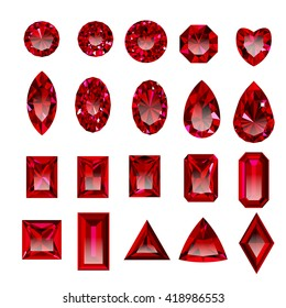Set of realistic red jewels. Colorful red gemstones. Red rubies  isolated on white background. Princess cut jewel. Round cut jewel. Emerald cut jewel. Oval cut jewel. Pear cut jewel . Heart cut jewel.