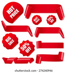 Set of realistic red paper ribbons and discount stickers on white background. Vector illustration.