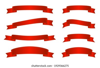 Set of realistic red ribbons with gold line. Satin decorative element. Flat ribbons for design, discount offer and gift. Blank decor with copy space. Stock vector illustration on white isolated bg.