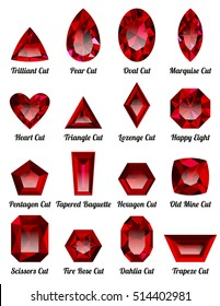 Set of realistic red rubies with complex cuts isolated on white background. Jewel and jewelry. Colorful gems and gemstones. Trilliant, pear, oval, marquise, heart, triangle, lozenge, happy eight.