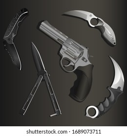 set of realistic revolver, folding pocket knife, balisong and two karambits