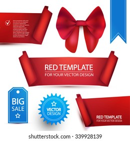Set of Realistic Ribbons, Labels, Badge & Bow. Vector illustration