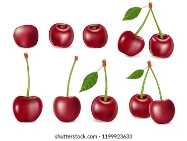 Set of realistic ripe cherry with leaves. Templates for juice, healthy diet and nutrition advertising. Red Cherry isolated on white. 3d Vector illustration