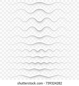 Set of realistic semitransparent white paper decorative dividers edges with shadows. And also includes EPS 10 vector