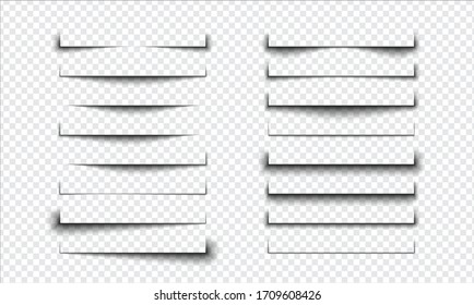 Set of realistic shadow effect on a transparent background, page separation vectors