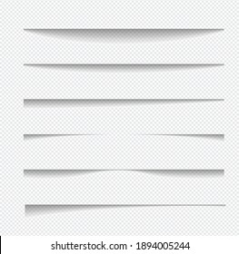 Set of realistic shadow effect on a transparent background different shapes, page separation vectors