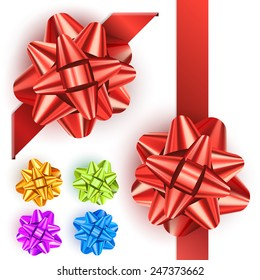 Set of realistic shiny bows isolated on white background. Red, green, blue gift bows for cards, presentation, christmas and birthday illustrations. Colored gift bows, vector collection