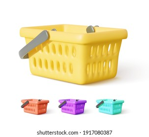 Set of realistic shopping cart with shadow isolated on white background. Vector illustration