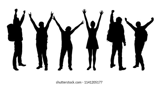 Set of realistic silhouettes of people enjoying with hands up - vector