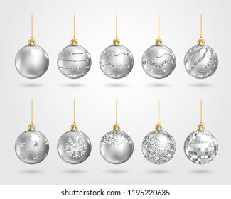 Set of realistic silver Christmas balls with different patterns of sequins. Vector illustration