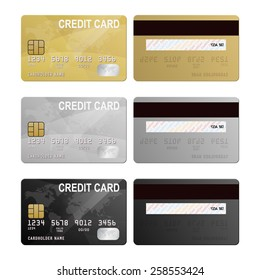 Set of realistic silver, gold and black vector credit card two sides.