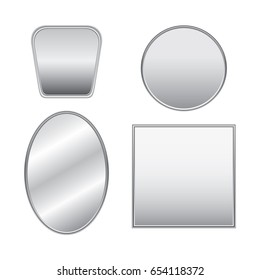 Set of realistic silver mirrors with reflection. Simple modern frames on white background.