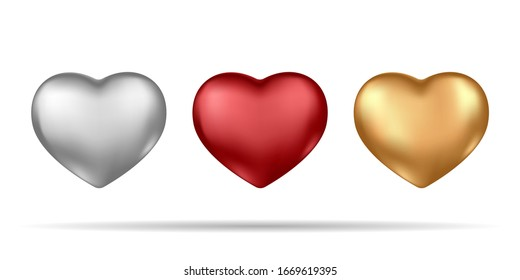 Set of realistic silver, red and gold 3d hearts isolated on white background.