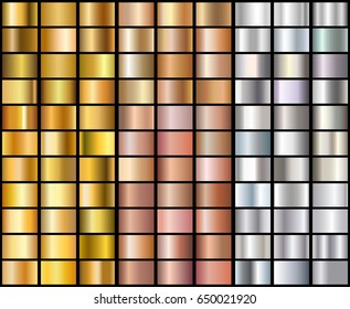 Set of Realistic silver, rose gold and golden gradients. Vector metal collection for border, frame, ribbon design