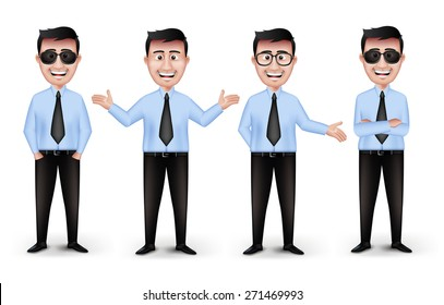 Set of Realistic Smart Different Professional and Business Man Characters with Eyeglasses in Long Sleeve and Necktie Holding Briefcase Isolated in White Background. Editable Vector Illustration