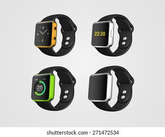 Set of the realistic smart fitness watches mockup on the white background