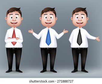 Set of Realistic Smart Professional and Business Man Characters Presenting in Long Sleeve and Necktie Isolated in White Background. Editable Vector Illustration