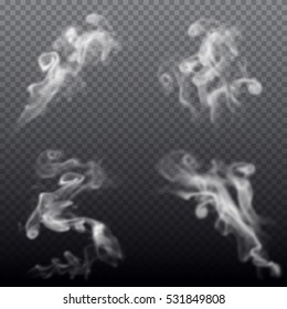 Set of realistic smoke isolated on transparent background. Vector illustration.