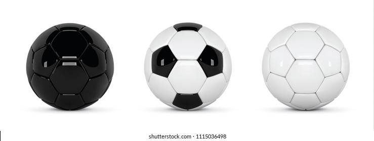 Set of realistic soccer balls or football ball on white background. 3d Style vector Ball. Soccer black and white balls.