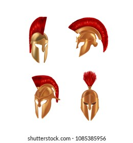 Set of realistic Spartan Ancient Greek, Roman helmet. Helm of the Gladiator's Warrior with red cloth brush on top, Trojan war, bronze protective headgear spartan helmet. Vector illustration isolated.