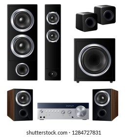 Set of realistic speakers of various size and center audio device isolated on white background vector illustration
