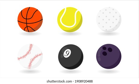 Set realistic sports balls vector isolated on white background Vector illustration EPS 10