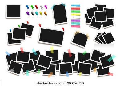 Set of realistic square Polaroid frames, pins and paper stickers isolated on white. Vector polaroid illustration