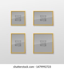 Set of Realistic Square and Rectangular Light Yellow Color Blank Picture Frame A3, A4 sizes, hanging on a White Wall from the Front. Vector Empty Frame with Shiny Glass. Design Template for Mock Up
