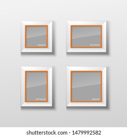 Set Realistic Square and Rectangular Orange Color Blank Picture Frame A3 A4 sizes, hanging on a White Wall from the Front. Vector illustration Empty Frame with Shiny Glass. Design Template for Mock Up