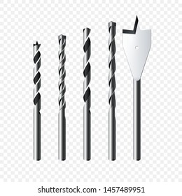 Set of realistic steel Drill Bits. Vector illustration isolated on transparent background