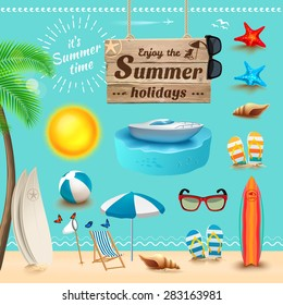 Set of realistic summer icons and objects. Vector illustration