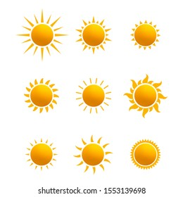 Set of realistic sun icon for weather design. Sun pictogram, flat icon. Trendy summer symbol for website design, web button, mobile app. Template vector illustration. Isolated on white background.