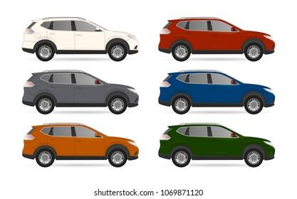 Set of realistic suv car 4x4 realistic model. realistic vector model, vector sedan car suv illustration. Side view. Different body car suv color. Auto service car set realistic vector suv body 4x4 set