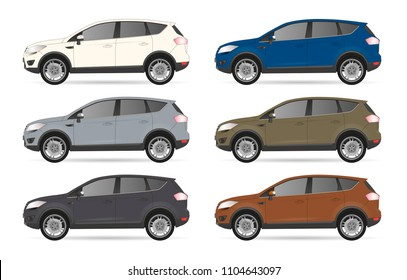 Set of realistic suv car 4x4 realistic model. realistic vector model, vector sedan car suv illustration. Side view. Different body car suv color. Auto service car set realistic vector suv body 4x4 set