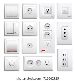 Set of realistic switches and sockets of various type isolated on white background 3d vector illustration
