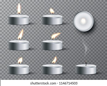 Set of realistic tea candles isolated on transparent background. Vector design elements.