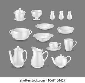 Set of realistic template mock-up porcelain ceramic ware. Tableware for cooking, cooking utensils for serving table, food. Cups, mugs, kettles for making and drinking drinks. Vector illustration.