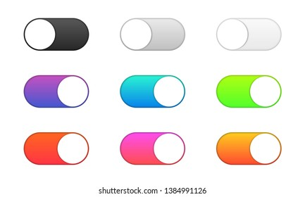 Set of realistic toggle switch buttons. On and off. Black, gray, white and colored switch interface button. Template design for concepts, web, interfaces, mobile applications.