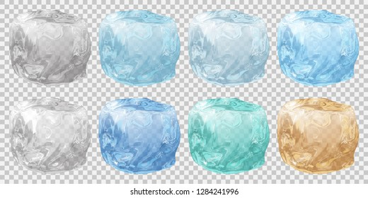 Set of realistic translucent ice cubes in various colors on transparent background