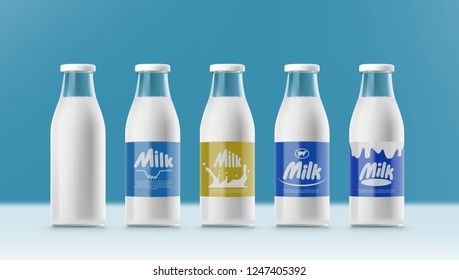 Set Of Realistic Transparent Clear Milk Bottles With Labels. EPS10 Vector