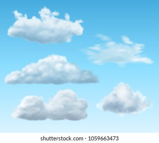 Set of realistic transparent clouds, EPS 10 contains transparency