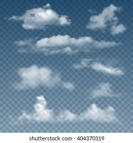 Set Of Realistic And Transparent Different Clouds. Vector Illustration.