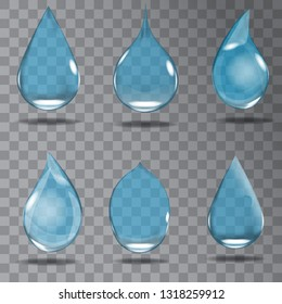 Set of realistic transparent drops in blue colors. Vector illustration