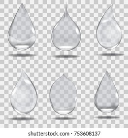 Set of realistic transparent drops in gray colors. Vector illustration